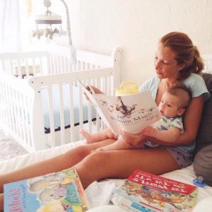 Adele Estes reading to son Beau. (Photo permission and courtesy of David Estes.)
