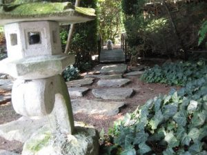 A section of the Japanese garden with Wheezer on the bridge. (Photo by A. Keith Carreiro, summer 2012.)